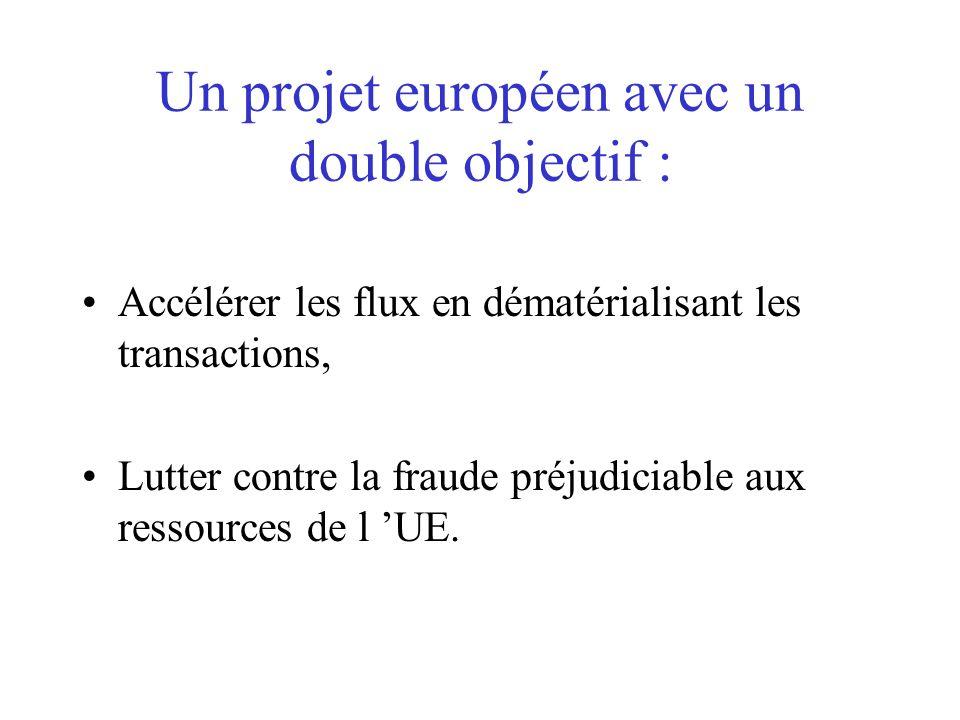 Un projet européen avec un double objectif : Accélérer les flux en dématérialisant les transactions, Lutter contre la fraude préjudiciable aux ressour