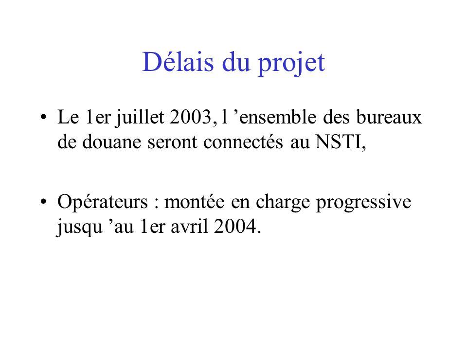 Délais du projet Le 1er juillet 2003, l ensemble des bureaux de douane seront connectés au NSTI, Opérateurs : montée en charge progressive jusqu au 1e