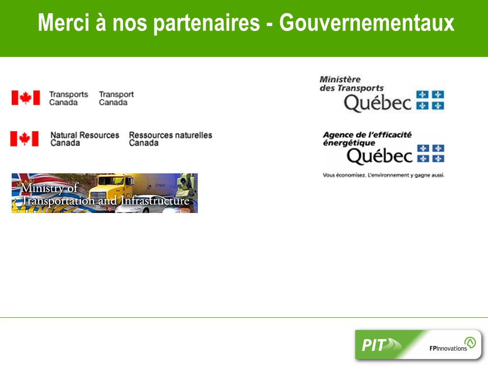 Merci à nos partenaires - Gouvernementaux