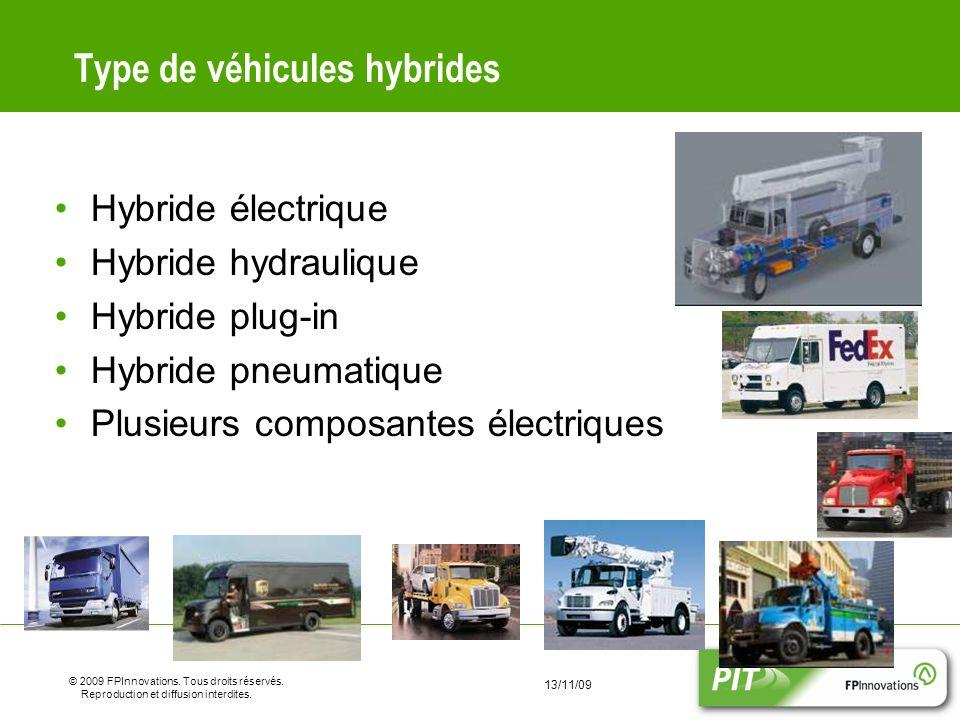 8 © 2009 FPInnovations. Tous droits réservés. Reproduction et diffusion interdites. 13/11/09 Type de véhicules hybrides Hybride électrique Hybride hyd
