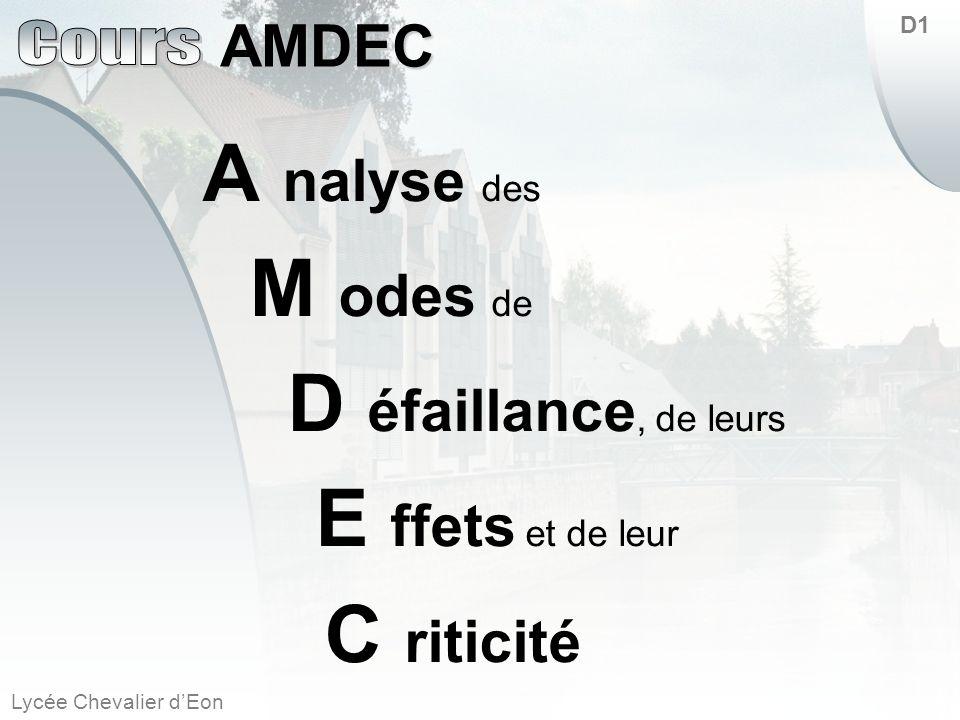 Lycée Chevalier dEon AMDEC D1 A nalyse des M odes de D éfaillance, de leurs E ffets et de leur C riticité