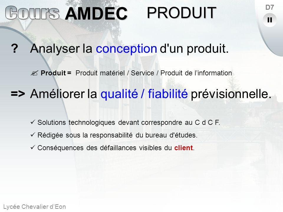 Lycée Chevalier dEon AMDEC D7 ?Analyser la conception d'un produit. Produit =Produit matériel / Service / Produit de linformation =>Améliorer la quali