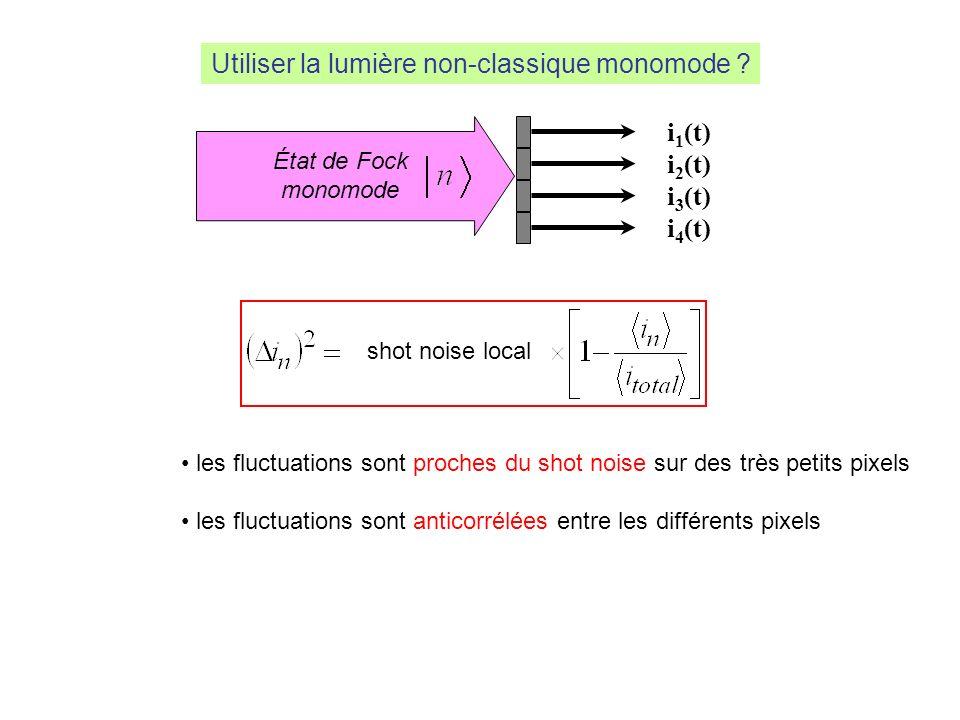 light beam i 1 (t) i 2 (t) i 3 (t) i 4 (t) État de Fock monomode Utiliser la lumière non-classique monomode ? shot noise local les fluctuations sont p