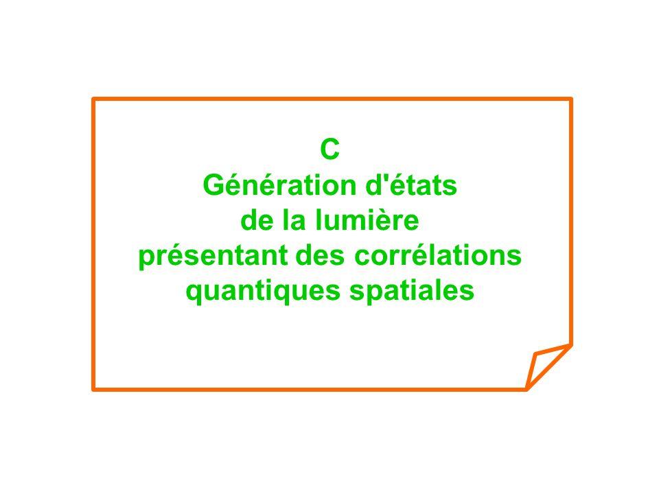 C Génération d états de la lumière présentant des corrélations quantiques spatiales