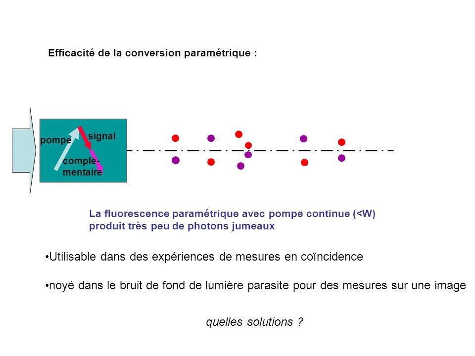 Efficacité de la conversion paramétrique : Utilisable dans des expériences de mesures en coïncidence noyé dans le bruit de fond de lumière parasite pour des mesures sur une image La fluorescence paramétrique avec pompe continue (<W) produit très peu de photons jumeaux pompe signal complé- mentaire quelles solutions ?