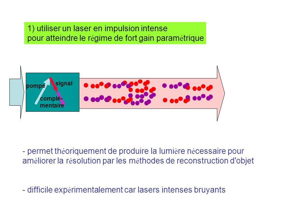 1) utiliser un laser en impulsion intense pour atteindre le r é gime de fort gain param é trique - permet th é oriquement de produire la lumi è re n é