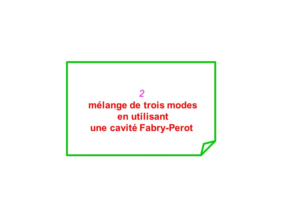 2 mélange de trois modes en utilisant une cavité Fabry-Perot
