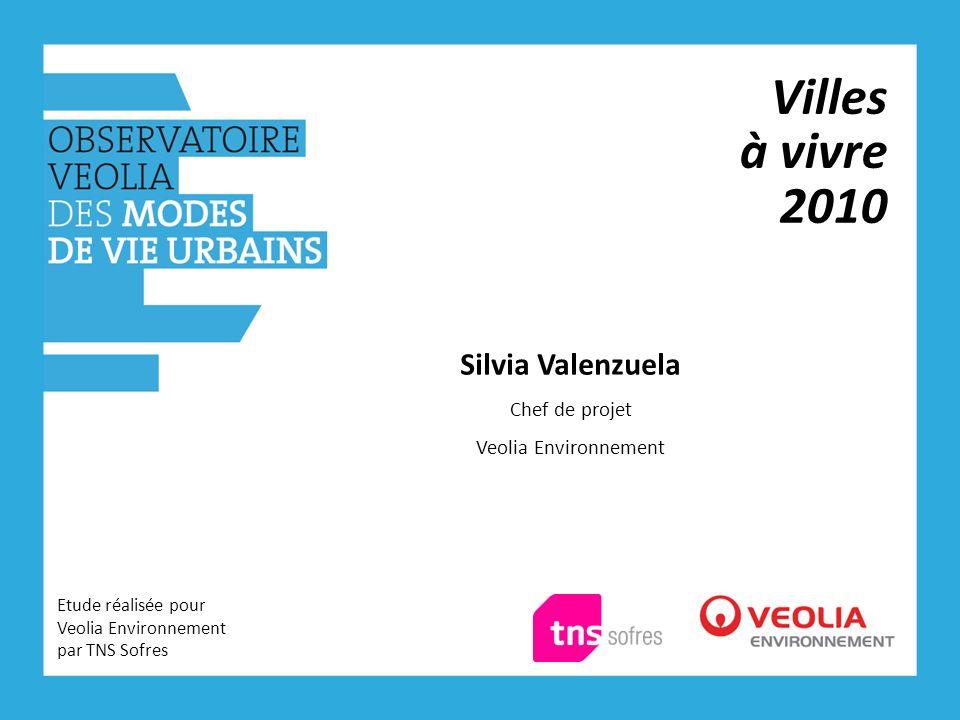 Villes à vivre 2010 Etude réalisée pour Veolia Environnement par TNS Sofres Silvia Valenzuela Chef de projet Veolia Environnement