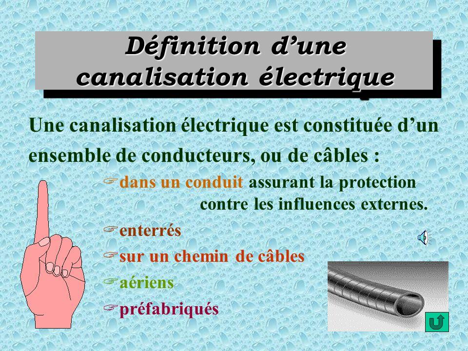 LES DIFFERENTS TYPES DE CANALISATIONS ELECTRIQUES Cliquez sur les boutons daction pour obtenir le type de canalisation qui vous intéresse. Définition