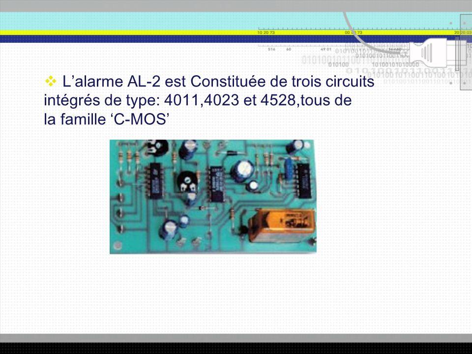 Lalarme AL-2 est Constituée de trois circuits intégrés de type: 4011,4023 et 4528,tous de la famille C-MOS