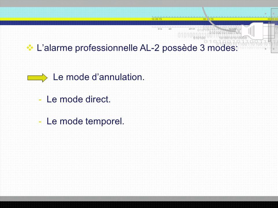 Lalarme professionnelle AL-2 possède 3 modes: - Le mode dannulation.