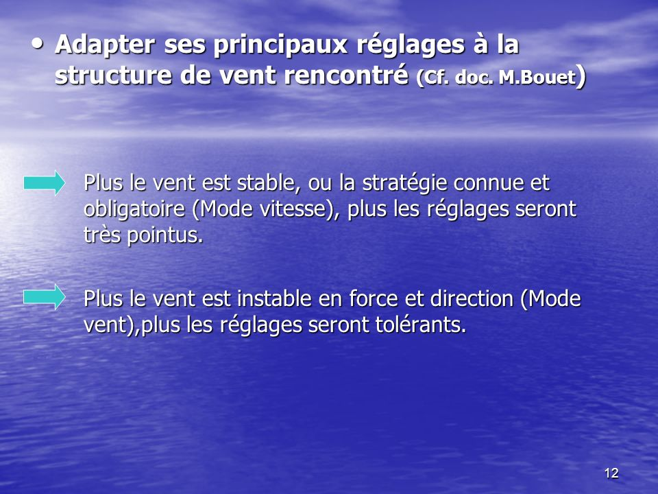 12 Adapter ses principaux réglages à la structure de vent rencontré (Cf. doc. M.Bouet ) Adapter ses principaux réglages à la structure de vent rencont