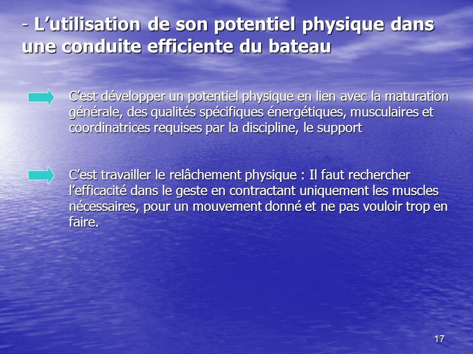 17 - Lutilisation de son potentiel physique dans une conduite efficiente du bateau Cest développer un potentiel physique en lien avec la maturation gé