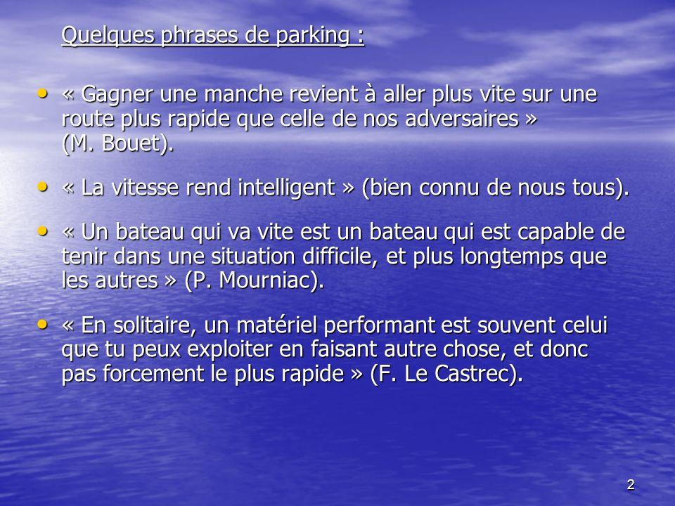 2 Quelques phrases de parking : « Gagner une manche revient à aller plus vite sur une route plus rapide que celle de nos adversaires » (M. Bouet). « G