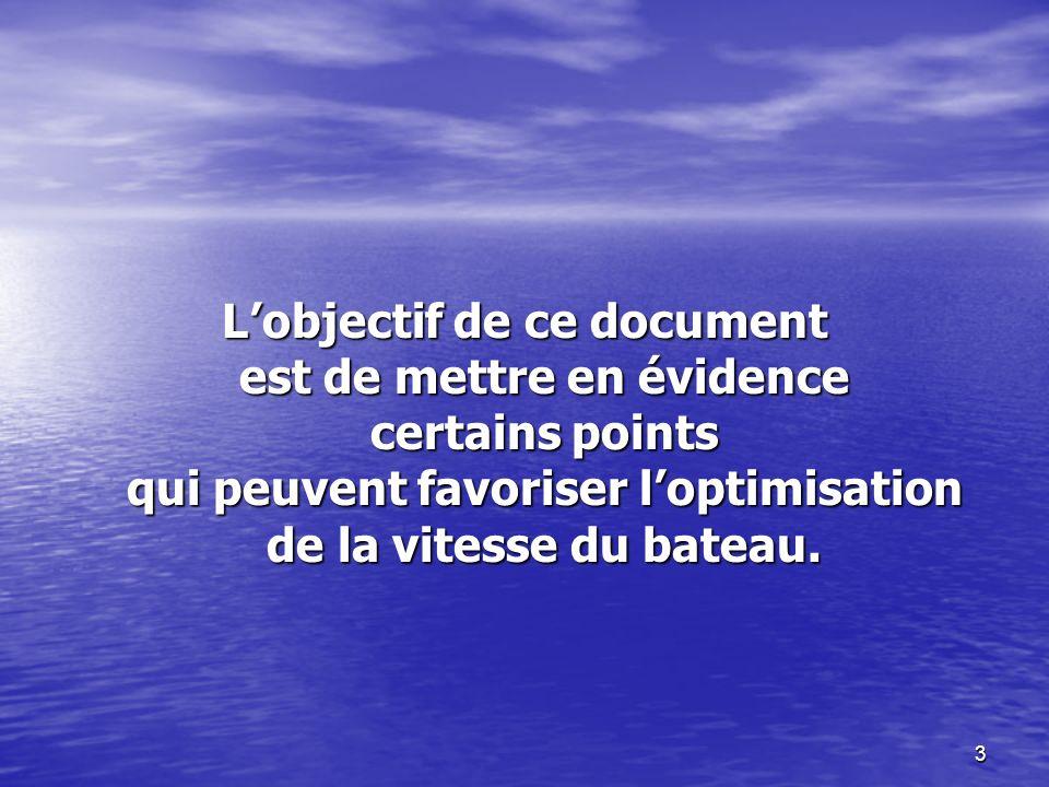 3 Lobjectif de ce document est de mettre en évidence certains points qui peuvent favoriser loptimisation de la vitesse du bateau.