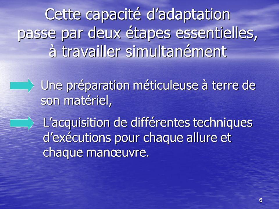 6 Cette capacité dadaptation passe par deux étapes essentielles, à travailler simultanément Une préparation méticuleuse à terre de son matériel, Lacqu