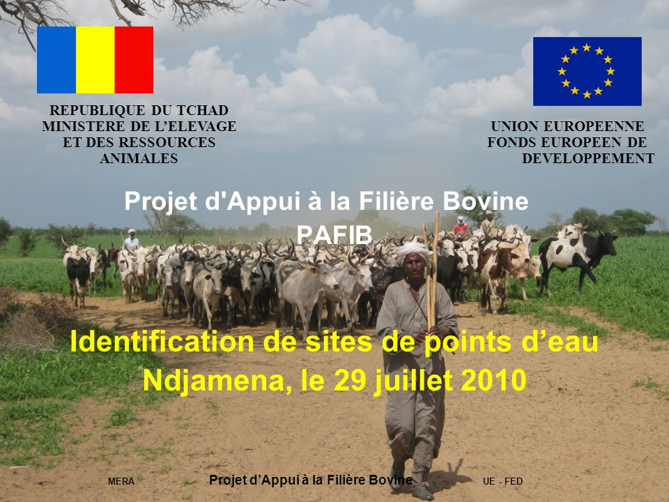 MERA Projet dAppui à la Filière Bovine UE - FED Projet d Appui à la Filière Bovine PAFIB Identification de sites de points deau Ndjamena, le 29 juillet 2010 REPUBLIQUE DU TCHAD MINISTERE DE LELEVAGE ET DES RESSOURCES ANIMALES UNION EUROPEENNE FONDS EUROPEEN DE DEVELOPPEMENT