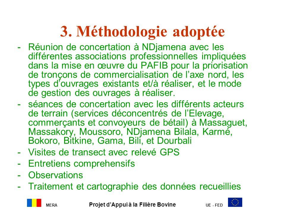 MERA Projet dAppui à la Filière Bovine UE - FED 3. Méthodologie adoptée -Réunion de concertation à NDjamena avec les différentes associations professi