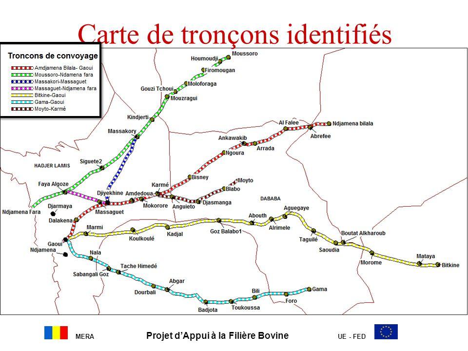 MERA Projet dAppui à la Filière Bovine UE - FED Carte de tronçons identifiés