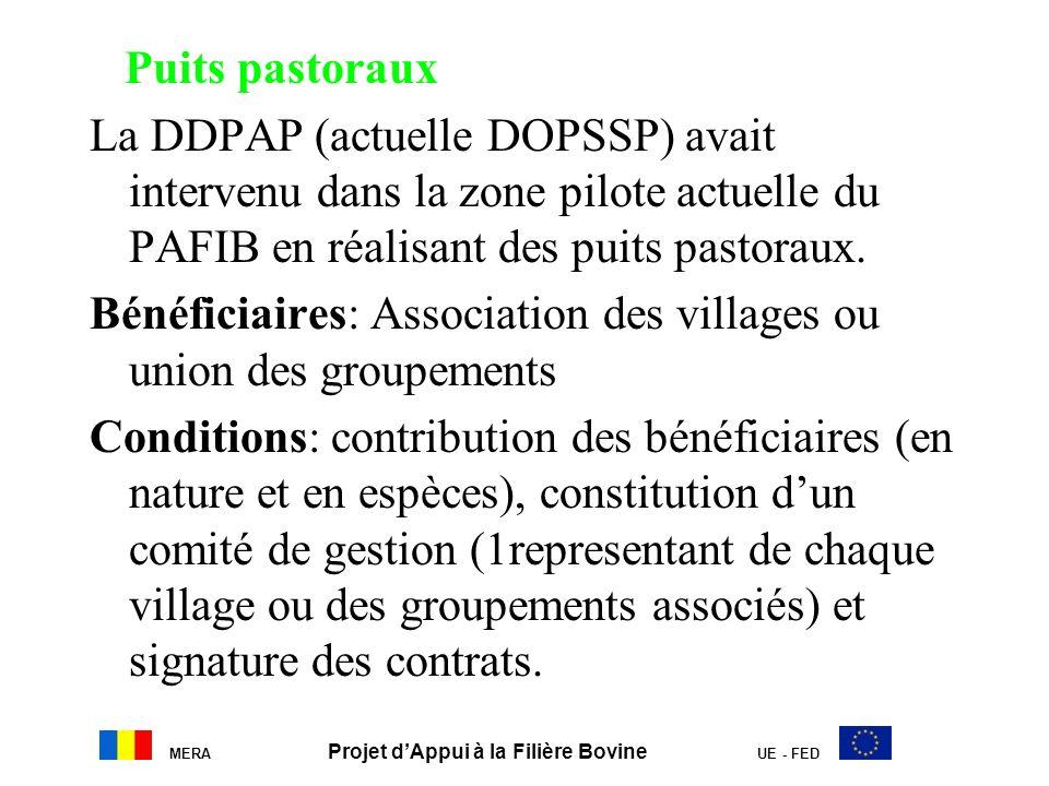 Puits pastoraux La DDPAP (actuelle DOPSSP) avait intervenu dans la zone pilote actuelle du PAFIB en réalisant des puits pastoraux. Bénéficiaires: Asso