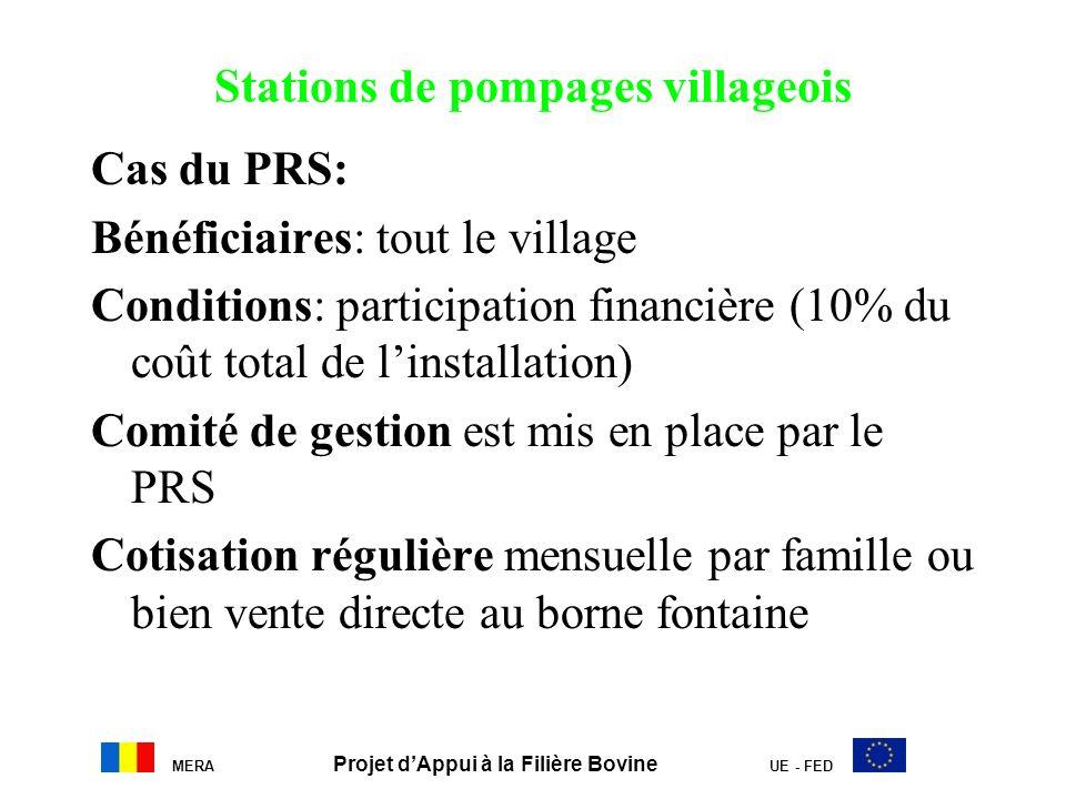 Stations de pompages villageois Cas du PRS: Bénéficiaires: tout le village Conditions: participation financière (10% du coût total de linstallation) C