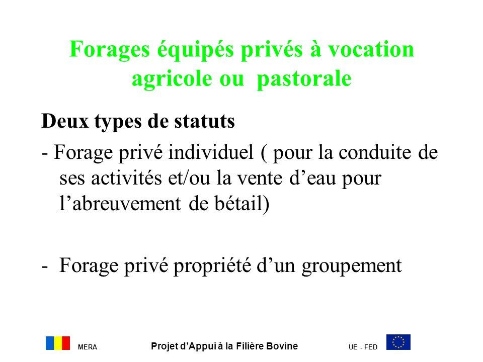 Forages équipés privés à vocation agricole ou pastorale Deux types de statuts - Forage privé individuel ( pour la conduite de ses activités et/ou la v