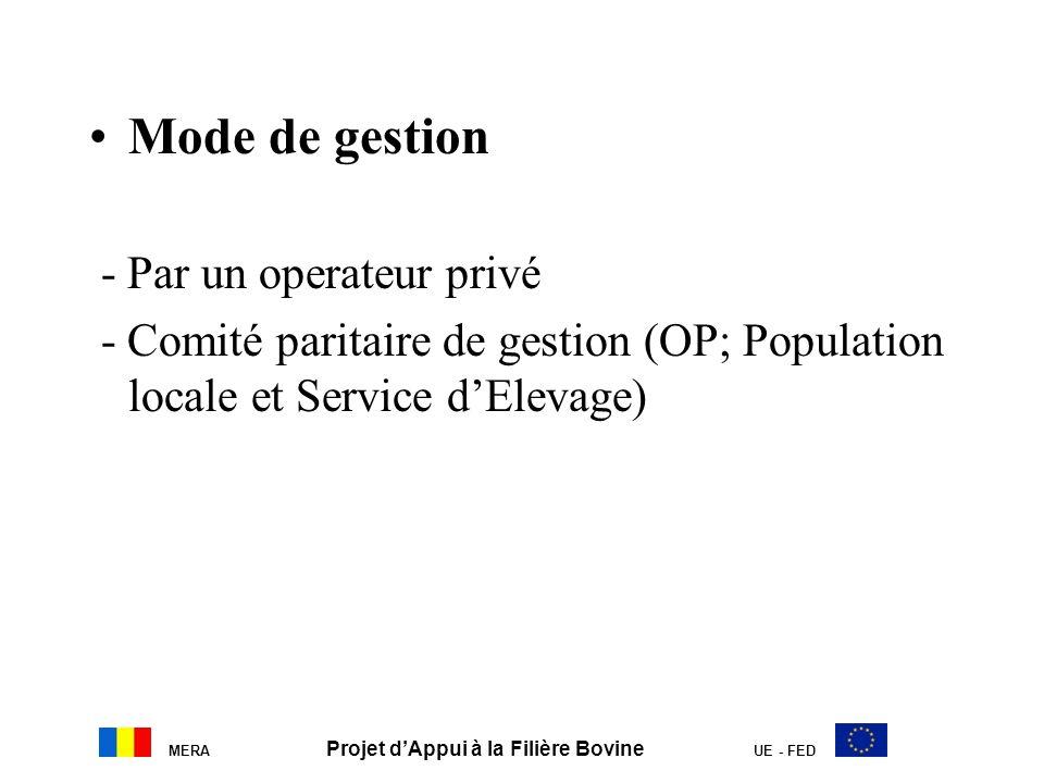 MERA Projet dAppui à la Filière Bovine UE - FED Mode de gestion - Par un operateur privé - Comité paritaire de gestion (OP; Population locale et Servi