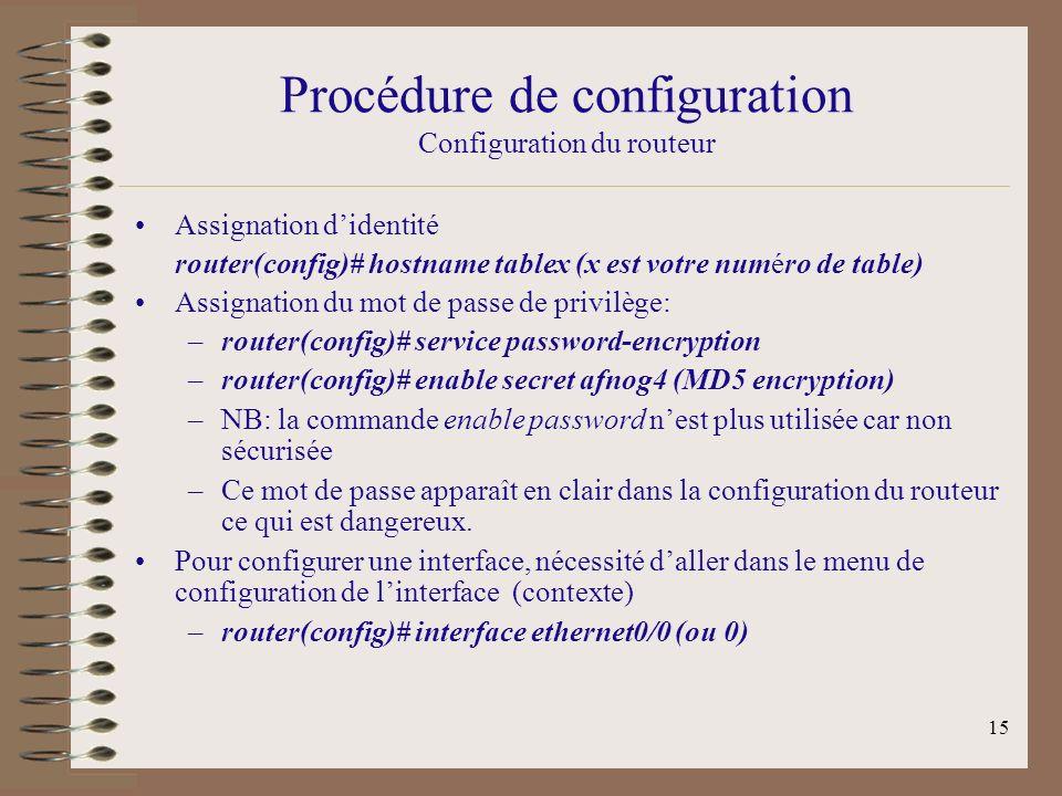 15 Procédure de configuration Configuration du routeur Assignation didentité router(config)# hostname tablex (x est votre numéro de table) Assignation du mot de passe de privilège: –router(config)# service password-encryption –router(config)# enable secret afnog4 (MD5 encryption) –NB: la commande enable password nest plus utilisée car non sécurisée –Ce mot de passe apparaît en clair dans la configuration du routeur ce qui est dangereux.
