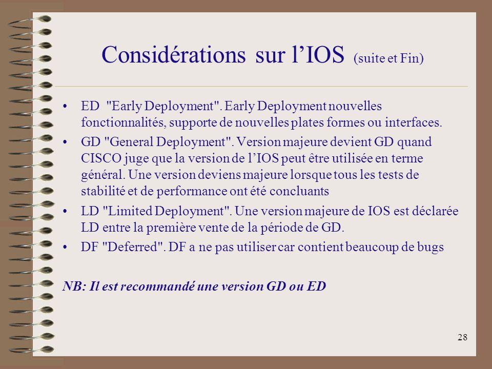 28 Considérations sur lIOS (suite et Fin) ED Early Deployment .