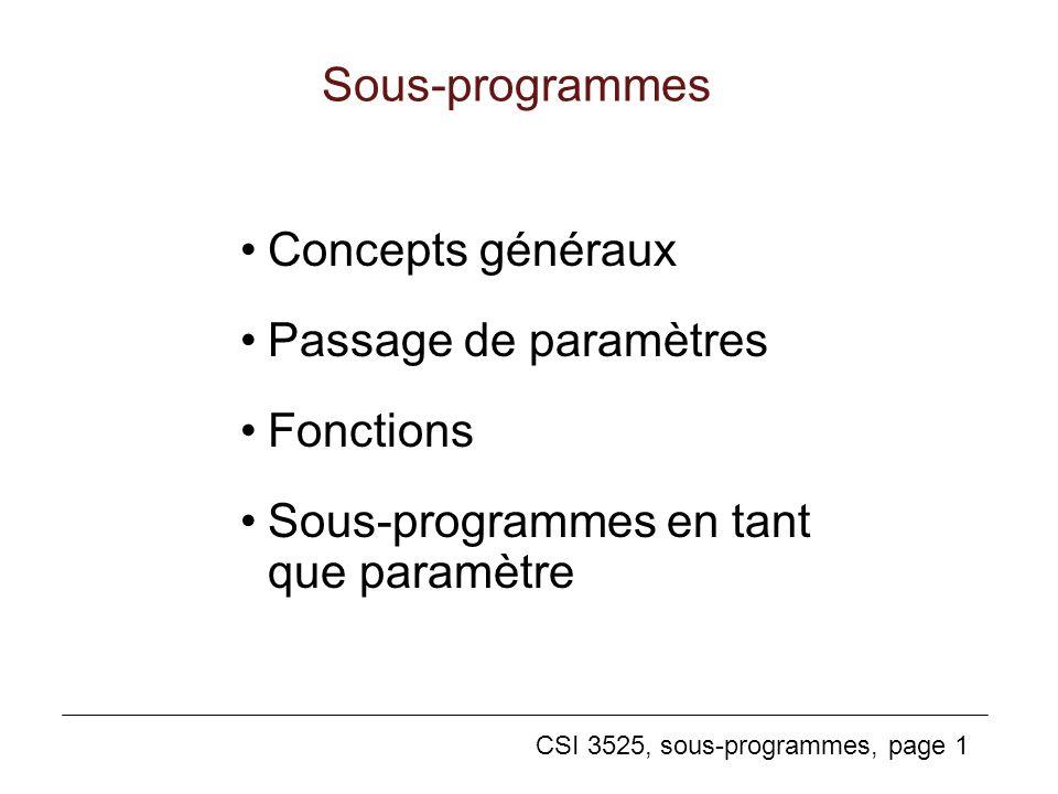 CSI 3525, sous-programmes, page 1 Sous-programmes Concepts généraux Passage de paramètres Fonctions Sous-programmes en tant que paramètre