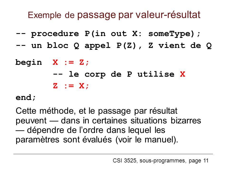 CSI 3525, sous-programmes, page 11 Exemple de passage par valeur-résultat -- procedure P(in out X: someType); -- un bloc Q appel P(Z), Z vient de Q begin X := Z; -- le corp de P utilise X Z := X; end; Cette méthode, et le passage par résultat peuvent dans in certaines situations bizarres dépendre de lordre dans lequel les paramètres sont évalués (voir le manuel).