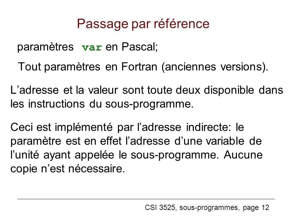 CSI 3525, sous-programmes, page 12 Passage par référence paramètres var en Pascal; Tout paramètres en Fortran (anciennes versions).