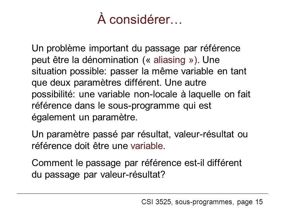 CSI 3525, sous-programmes, page 15 À considérer… Un problème important du passage par référence peut être la dénomination (« aliasing »).