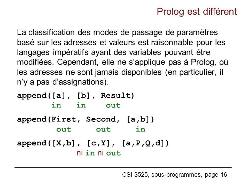 CSI 3525, sous-programmes, page 16 La classification des modes de passage de paramètres basé sur les adresses et valeurs est raisonnable pour les langages impératifs ayant des variables pouvant être modifiées.
