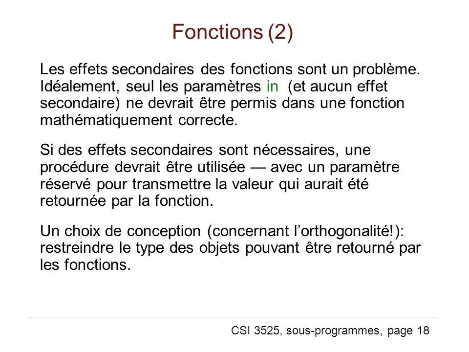 CSI 3525, sous-programmes, page 18 Les effets secondaires des fonctions sont un problème.