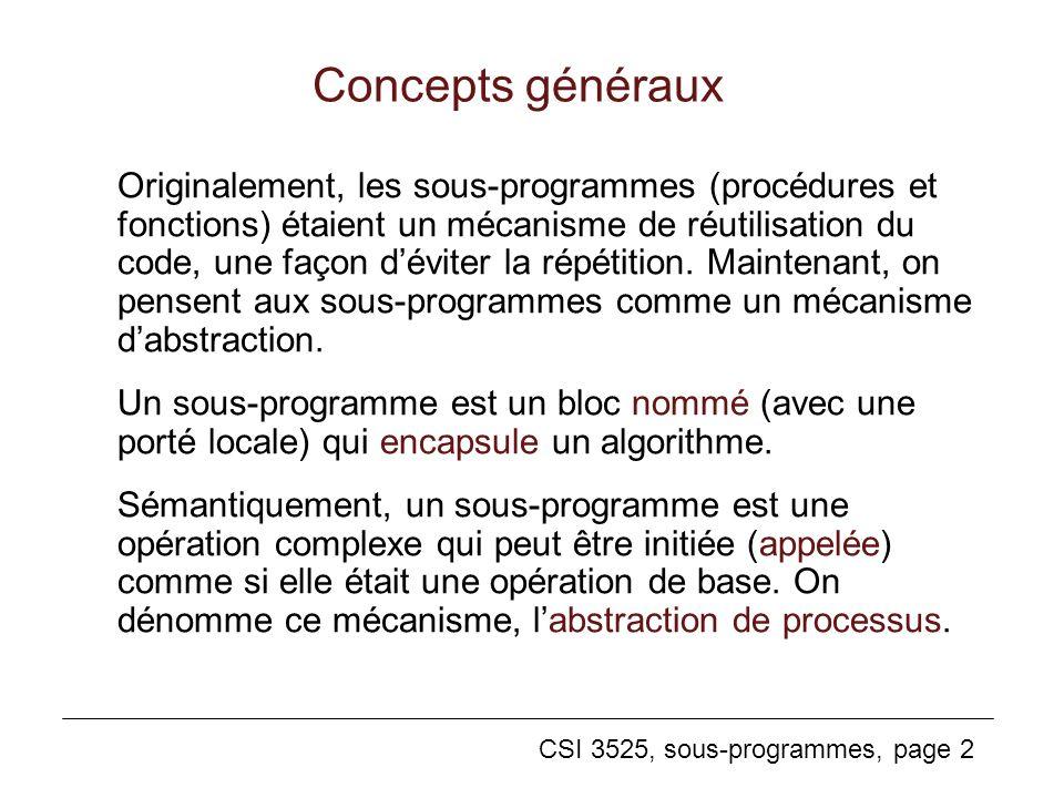 CSI 3525, sous-programmes, page 2 Concepts généraux Originalement, les sous-programmes (procédures et fonctions) étaient un mécanisme de réutilisation du code, une façon déviter la répétition.