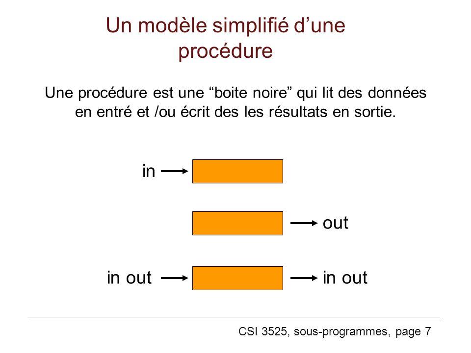 CSI 3525, sous-programmes, page 7 Un modèle simplifié dune procédure Une procédure est une boite noire qui lit des données en entré et /ou écrit des les résultats en sortie.