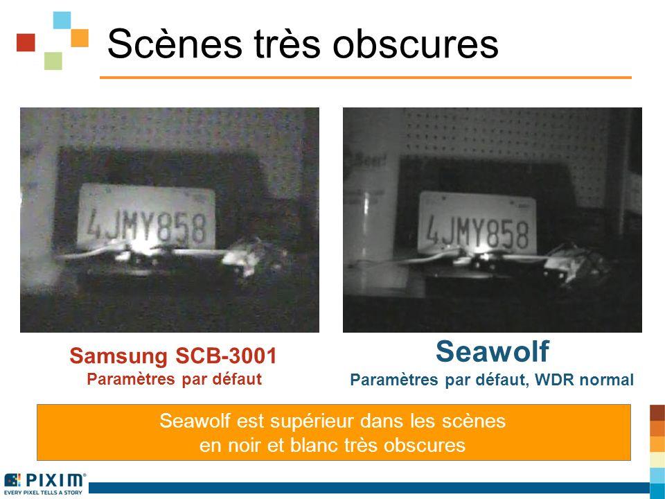 Scènes très obscures Samsung SCB-3001 Paramètres par défaut Seawolf Paramètres par défaut, WDR normal Seawolf est supérieur dans les scènes en noir et blanc très obscures