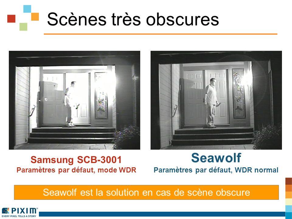 Scènes très obscures Samsung SCB-3001 Paramètres par défaut, mode WDR Seawolf Paramètres par défaut, WDR normal Seawolf est la solution en cas de scène obscure