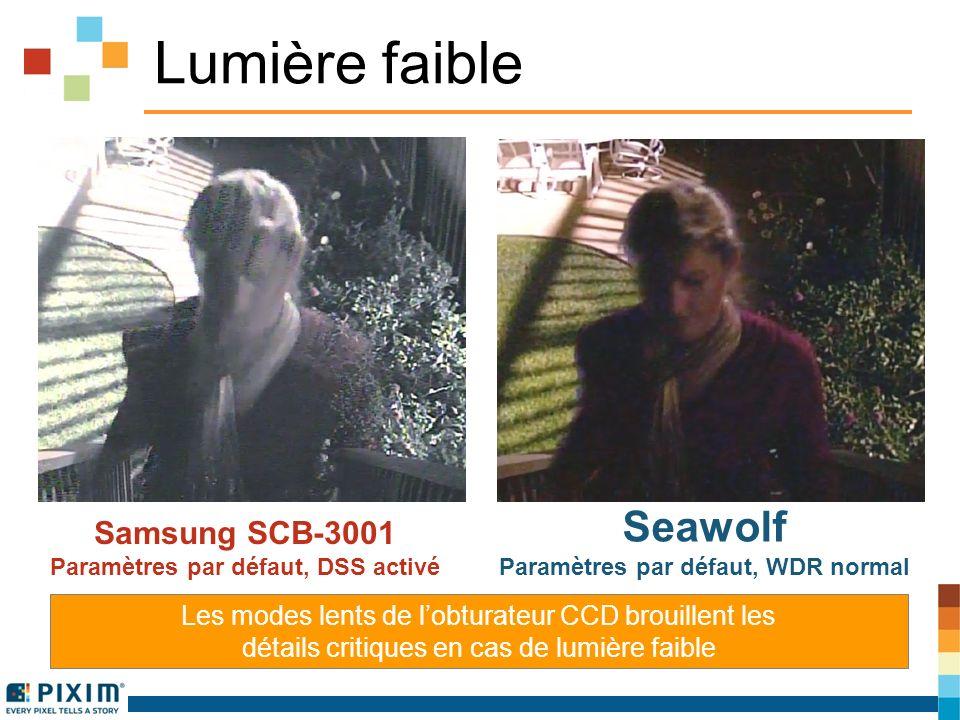 Lumière faible Les modes lents de lobturateur CCD brouillent les détails critiques en cas de lumière faible Samsung SCB-3001 Paramètres par défaut, DSS activé Seawolf Paramètres par défaut, WDR normal