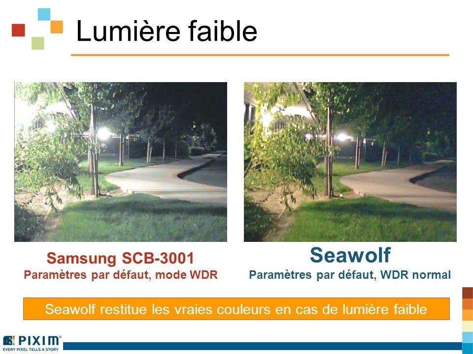 Lumière faible Samsung SCB-3001 Paramètres par défaut, mode WDR Seawolf Paramètres par défaut, WDR normal Seawolf restitue les vraies couleurs en cas de lumière faible