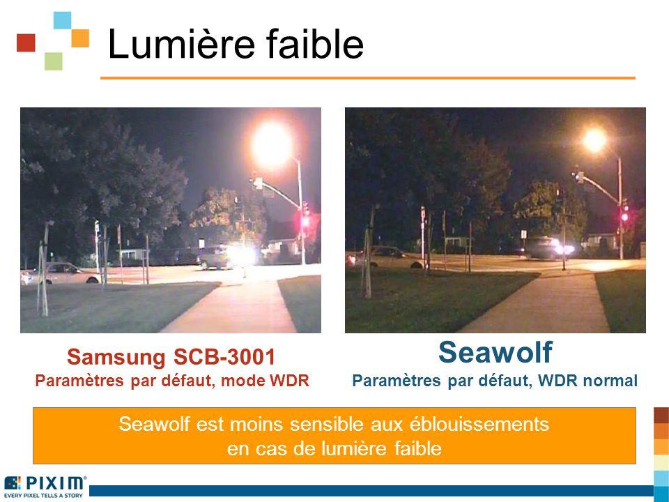 Lumière faible Samsung SCB-3001 Paramètres par défaut, mode WDR Seawolf Paramètres par défaut, WDR normal Seawolf est moins sensible aux éblouissements en cas de lumière faible
