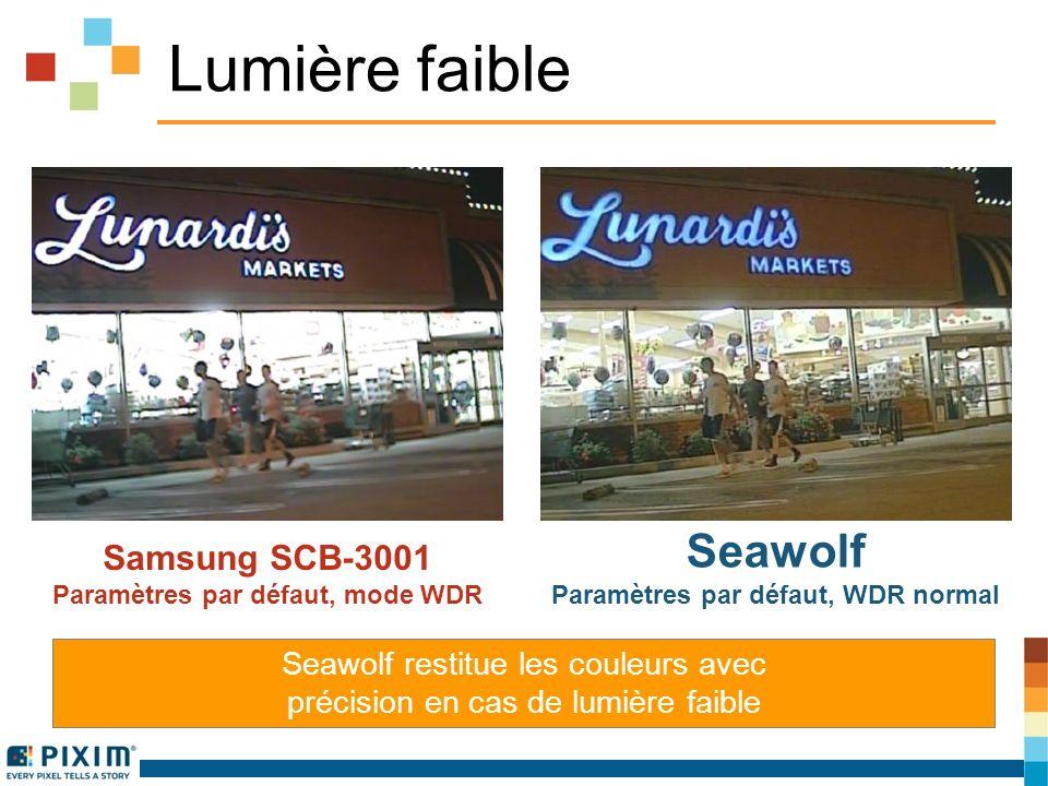 Lumière faible Samsung SCB-3001 Paramètres par défaut, mode WDR Seawolf Paramètres par défaut, WDR normal Seawolf restitue les couleurs avec précision en cas de lumière faible