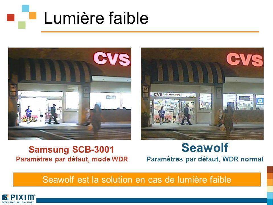 Lumière faible Samsung SCB-3001 Paramètres par défaut, mode WDR Seawolf Paramètres par défaut, WDR normal Seawolf est la solution en cas de lumière faible