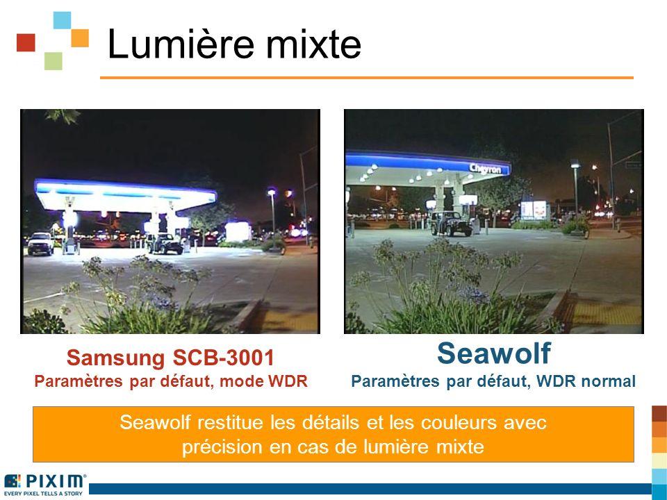 Lumière mixte Seawolf restitue les détails et les couleurs avec précision en cas de lumière mixte Samsung SCB-3001 Paramètres par défaut, mode WDR Seawolf Paramètres par défaut, WDR normal