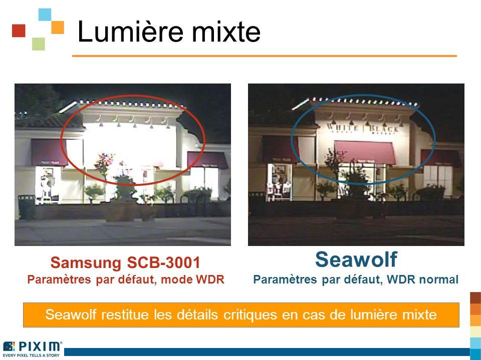 Lumière mixte Samsung SCB-3001 Paramètres par défaut, mode WDR Seawolf Paramètres par défaut, WDR normal Seawolf restitue les détails critiques en cas de lumière mixte