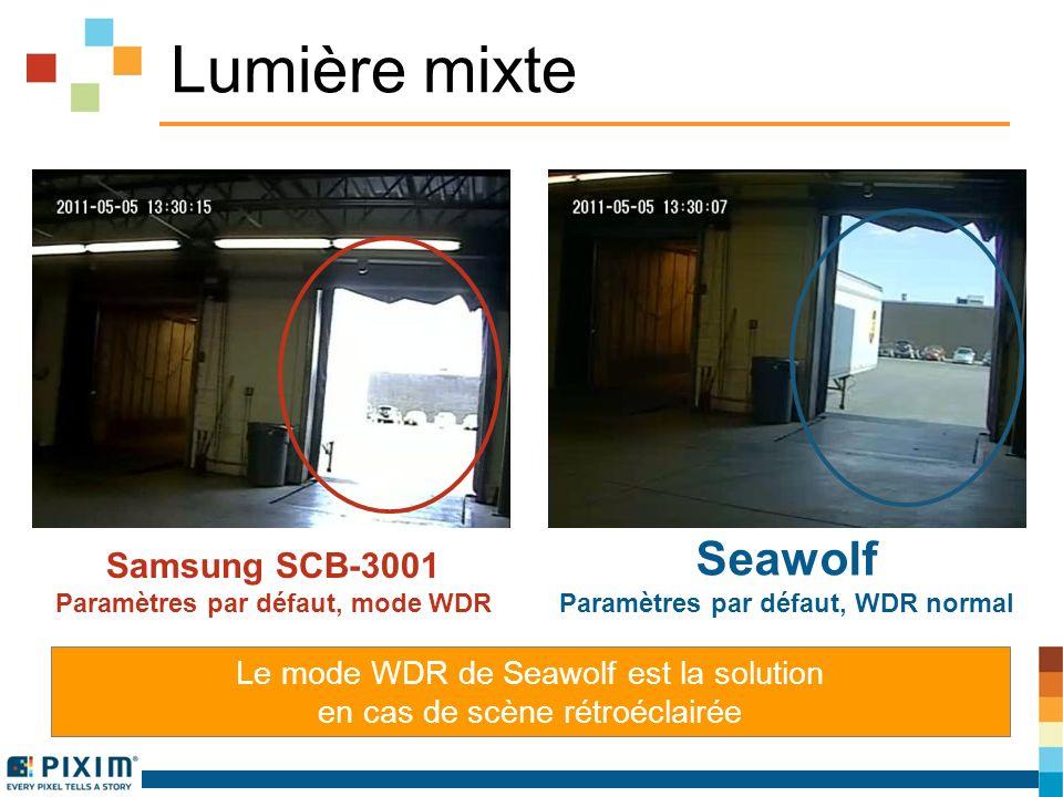 Lumière mixte Le mode WDR de Seawolf est la solution en cas de scène rétroéclairée Samsung SCB-3001 Paramètres par défaut, mode WDR Seawolf Paramètres par défaut, WDR normal
