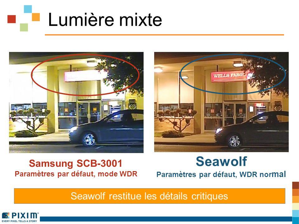 Lumière mixte Samsung SCB-3001 Paramètres par défaut, mode WDR Seawolf Paramètres par défaut, WDR nor mal Seawolf restitue les détails critiques