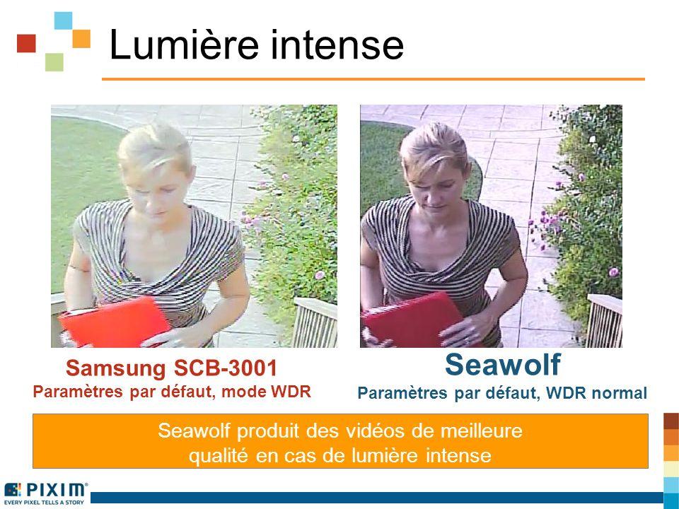 Lumière intense Samsung SCB-3001 Paramètres par défaut, mode WDR Seawolf Paramètres par défaut, WDR normal Seawolf produit des vidéos de meilleure qualité en cas de lumière intense