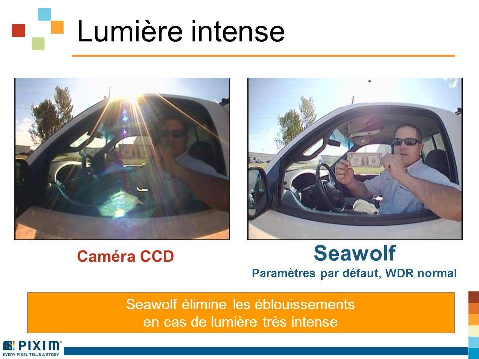 Lumière intense Caméra CCD Seawolf Paramètres par défaut, WDR normal Seawolf élimine les éblouissements en cas de lumière très intense
